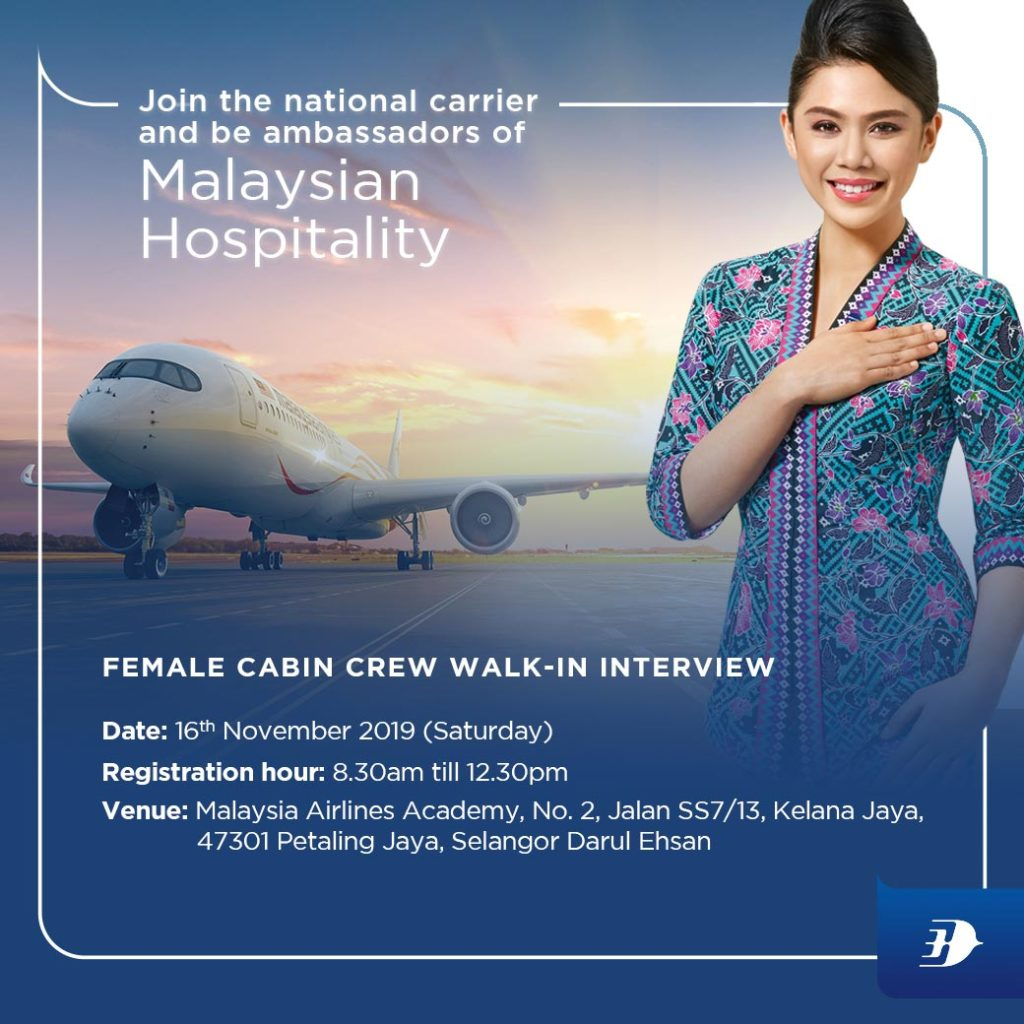 Walk-in Interview For Cabin Crew - MALAYSIA Airlines 16 November