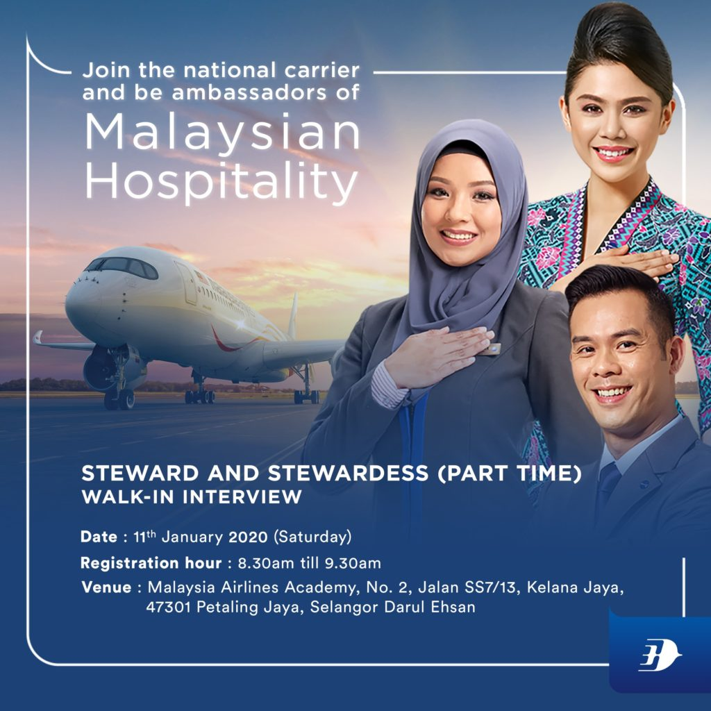 Malaysia Airlines Cabin Crew Walk-in-Interview ( Part Time) January 2020