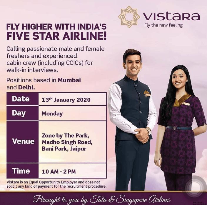 Vistara Air Cabin Crew Walk-in-Interview [Jaipur] January 2020