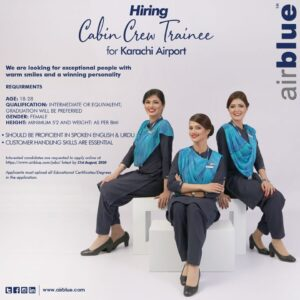 Airblue Cabin Crew Trainee Hiring (August 2020 ) - Apply Here